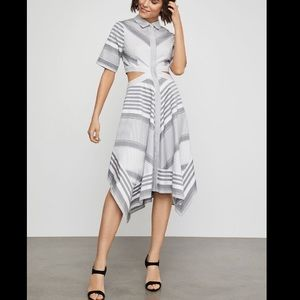 BCBGMaxAzria Striped Cutout Handkerchief dress Sz8